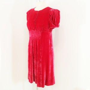 Marc Jacobs Pink Silk Velvet Empire Juliette Dress